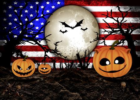 ハロウィーンの祭りとアメリカの旗の背景 写真素材