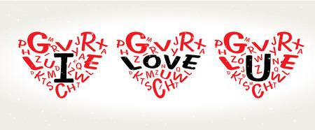 i love u: Heart Shaped Vector