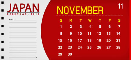 Japan book calendar 2015 flag background 11 november