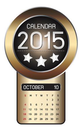 październik: Kalendarz tło października 2015 r Fiber