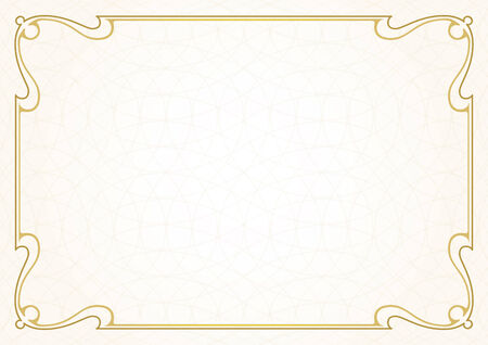 gold picture frame: Border VectorTemplate Illustration