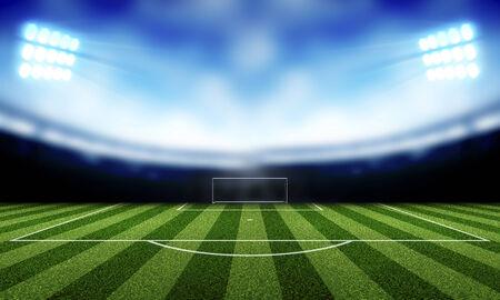 stadium lights at night and Soccer background Фото со стока