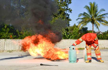 Practice fire drills Stock Photo