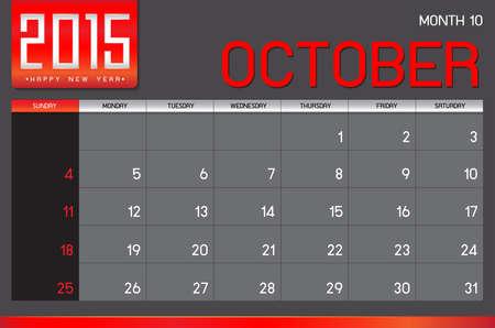październik: Kalendarz 2015, październik