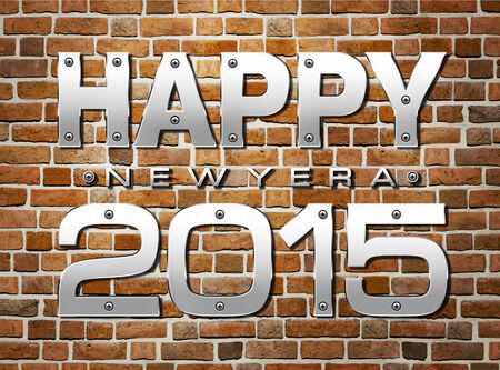 fortification: Happy new year 2015 on Brick Wall old Background