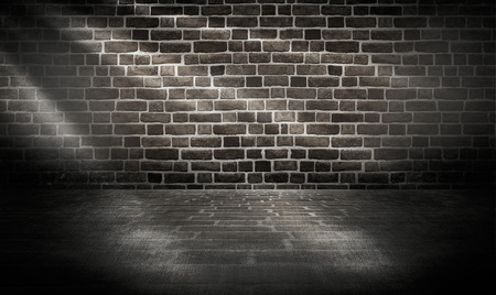 room with tile floor and brick wall background photo