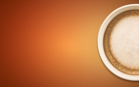 jaunty: coffee cup with abstract orange background Stock Photo