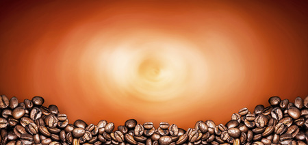 coffee beans orange background