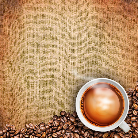 tea cup on burlap background photo