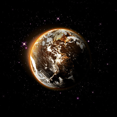 barren: planet and galaxy  Stock Photo