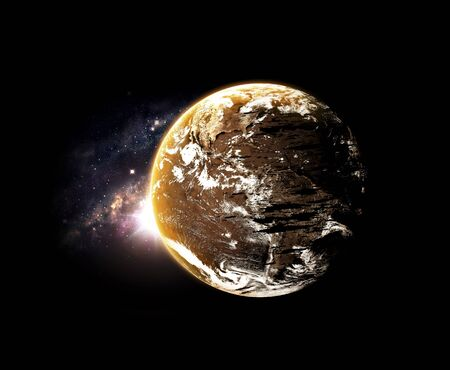 barren: planet and galaxy Elements of this image furnished by NASA Stock Photo