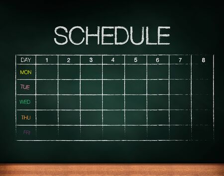 specification: schedule on chalkboard