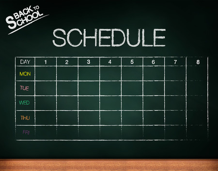 classes schedule: schedule on chalkboard