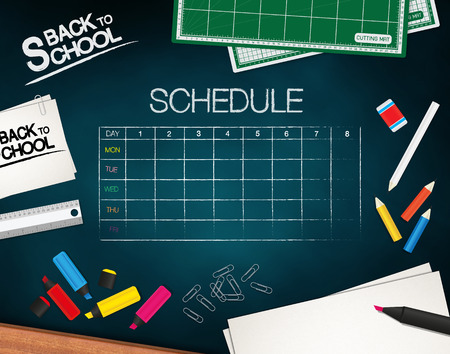 classes schedule: School Supplies on a chalkboard closeup