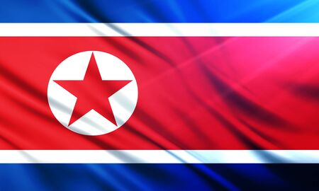 populace: The National Flag of North Korea Stock Photo