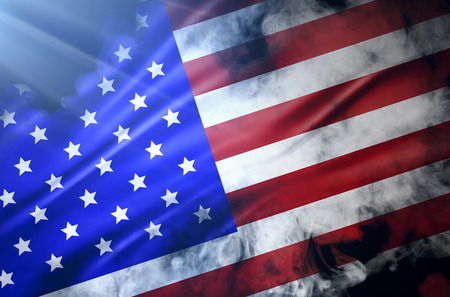 pyrotechnics: flag of united state of america Stock Photo
