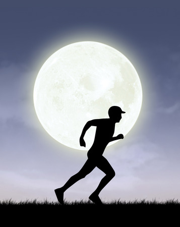 running silhouette nature background