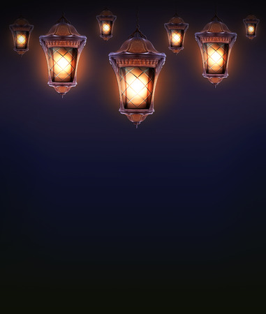 hanging lamp: hanging lamp with magic abstract background Stock Photo