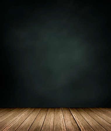 mur noir: Plancher en bois avec fond noir mur