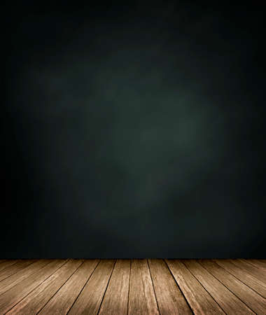 black wall: Wooden floor with black wall  background Stock Photo