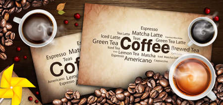 espresso: Coffee cup and coffee beans on a wooden table Stock Photo
