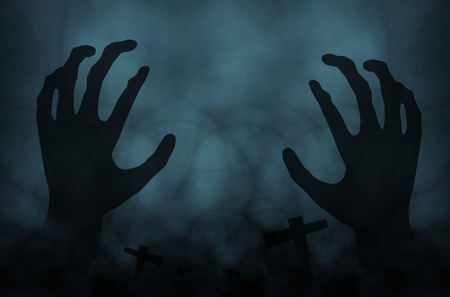 night sky: hand zombie halloween background