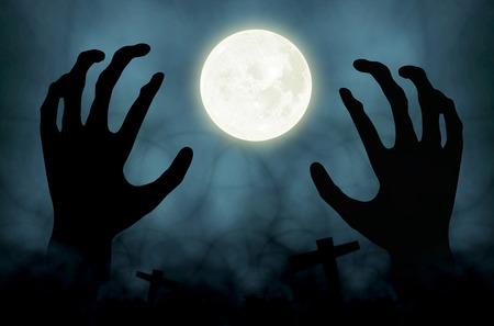 de hand zombie Halloween achtergrond Stockfoto