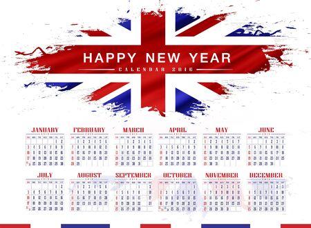 flag background: happy new years 2016 with splashes United Kingdom UK Flag background