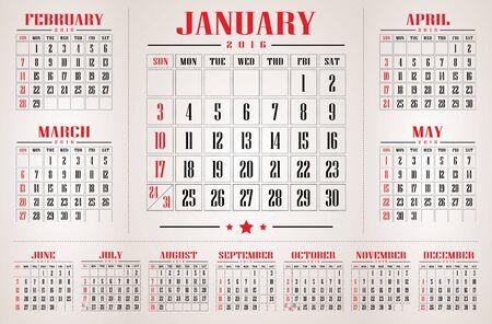 カレンダー 2016 年