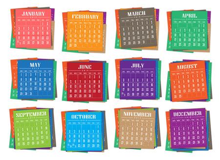 紙のカラフルなイラストがカレンダー 2016 年 写真素材