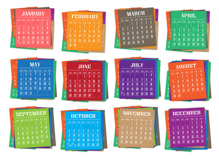 calendar 2016 with paper colorful illustration