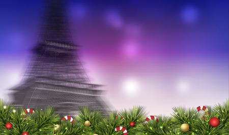 motion blur: Merry christmas festival illustration with paris  motion blur background