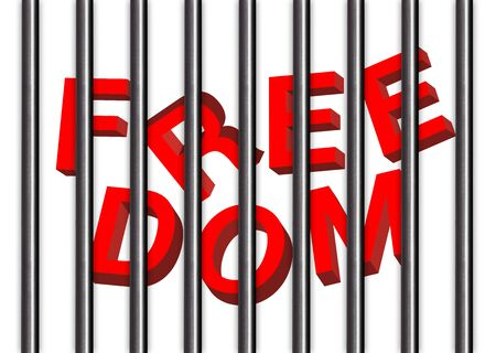confined: freedom with jail bars Background and illustration