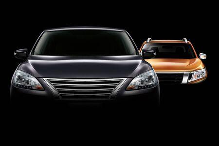 車のイラストと背景の画像