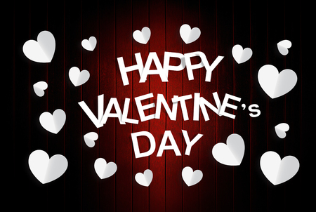 Happy Valentine Day with red wood background