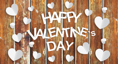 Happy Valentine Day with wood background Фото со стока