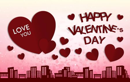 city of love and happy valentine day background