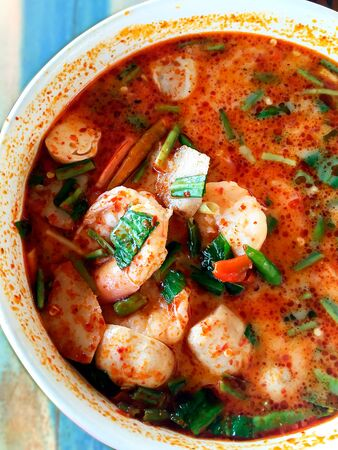 Tom Yum Goong closeup thai food Фото со стока