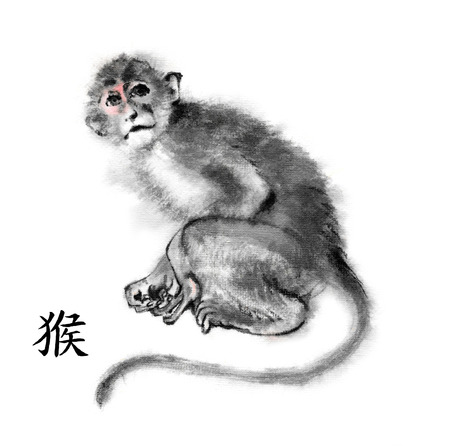 cute monkey: Monkey oriental ink painting with Chinese hieroglyph monkey. Isolated on white background. Symbol of the new year of monkey.