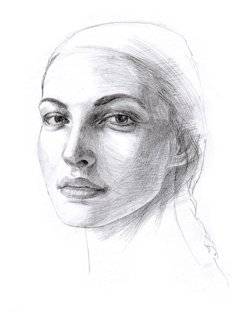 femme: Hand drawn face of a beautiful young woman. Pencil on white background. Original art. Fictional character. Stock Photo