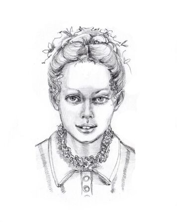 fictional character: Hand drawn portrait of a pretty young girl , retro style. Pencil on white background. Original art. Fictional character.