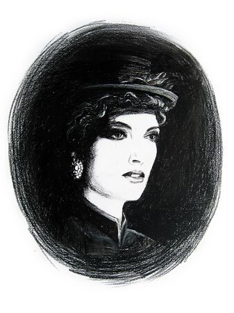 fictional character: Hand drawn portrait of a beautiful woman wearing riding habit, retro style. Pencil on white background. Original art. Fictional character.