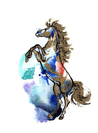rearing: Rearing horse black and gold drawing on a watercolor splash background Stock Photo