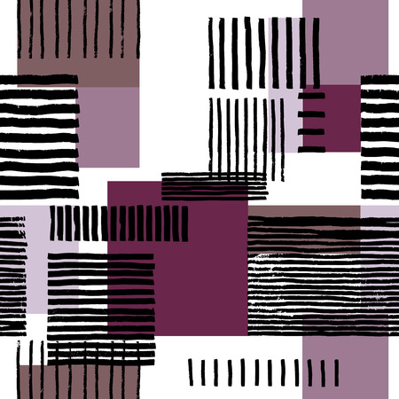 linework: Striped geometric seamless pattern. Hand drawn uneven black stripes on colorful rectangles, free layout. Purple tones. Textile design.