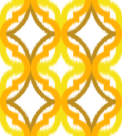 Seamless ogee ikat, vector ethnic background, traditional eastern pattern in yellow tones.