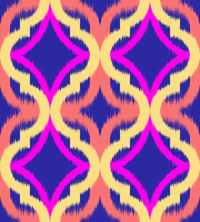 Seamless ogee ikat, vector ethnic background, traditional eastern pattern in vibrant neon colors.