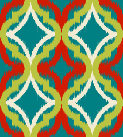Seamless ogee ikat, vector ethnic background, traditional eastern pattern in minty green and orange tones. Illustration