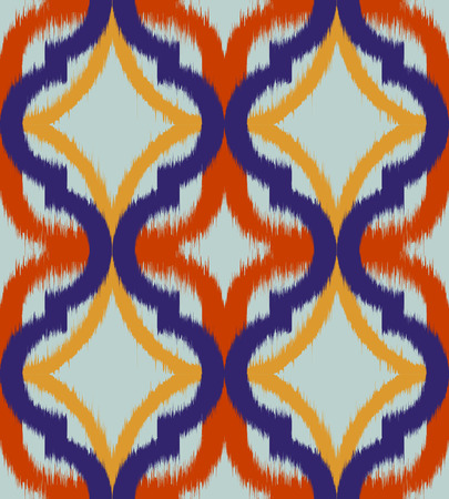 twill: Seamless ogee ikat, vector ethnic background, traditional eastern pattern in inky blue and orange tones.