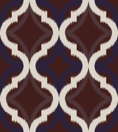 creme: Seamless ogee ikat, vector ethnic background, traditional eastern pattern in dark sienna brown and creme tones.