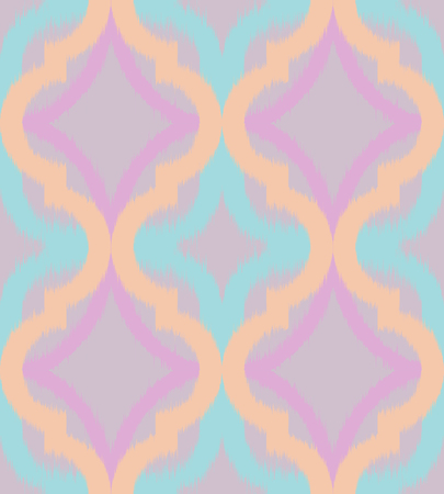 Seamless ogee ikat, vector ethnic background, traditional eastern pattern in pastel tones. Illustration